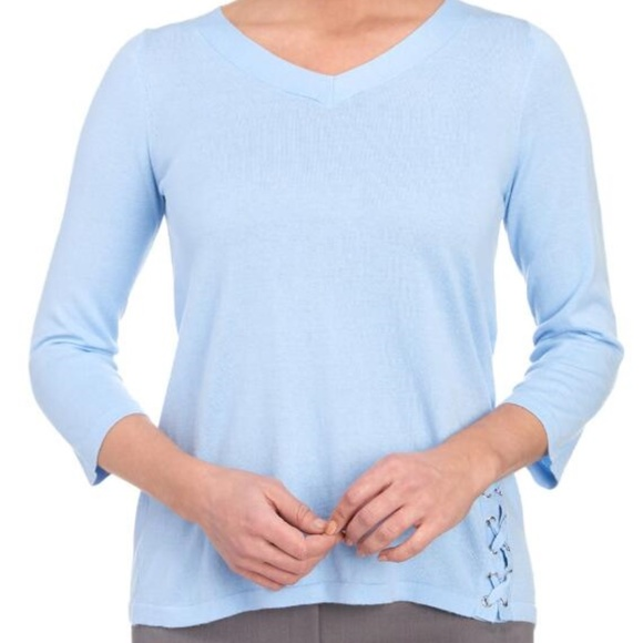 Jules Leopold Sweaters Baby Blue Lace Up Detail Sweater Womens L